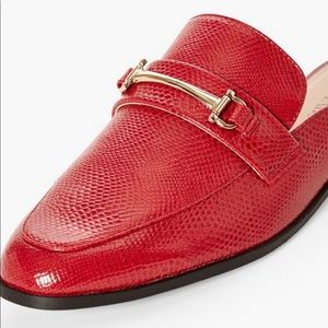 JustFab Red Loafer Mules